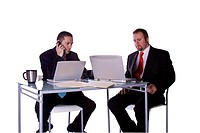 Businessmen in an Office Working Together _ Isolated Background