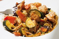 Stir-fried wok vegetables with turkey and rice