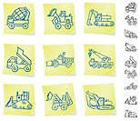 Construction Vehicles on Post It notesOriginal Vector IllustrationNotepad Post It