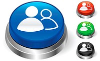User Group Icon on Internet ButtonOriginal Vector IllustrationThree Dimensional Buttons