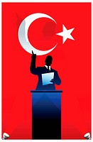 Turkey flag with political speaker behind a podium Original vector illustration. Ideal for national pride concepts.