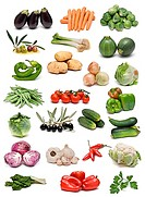 A fresh vegetables collection isolated on white background.