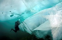 Diver, ice-diving, in Lake Baikal, Olkhon island, Siberia, Russia