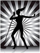 Female singer silhouette with ray background