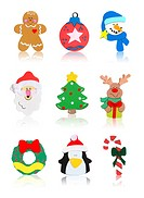Christmas Icons Santa Claus, Snowman, Tree, Reindeer, Wreath, Candy Cane