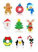 Christmas Icons Santa Claus, Snowman, Tree, Reindeer, Wreath, Candy Cane