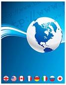 Globe with Internet Flag Buttons BackgroundOriginal Vector Illustration