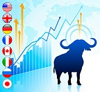 Bull Market with Internet Flag ButtonsOriginal Vector Illustration