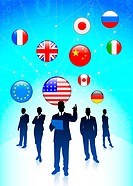 Business Tema with Internet Flag Buttons BackgroundOriginal Vector Illustration