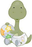 A Cute Baby Brontosaurus Holding a Ball Against White Background _ vector
