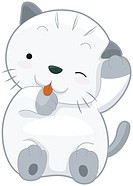 A Chubby Cat Licking its Paw Against White Background _ vector