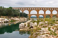 The well_known antique bridge_aqueduct Pont du Gard in Provence
