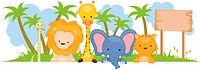 A Group of Wild Animals Against White Background _ Vector
