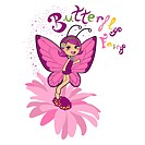 Butterfly fairy smiling on top of a pink daisy flower