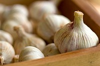 group of whole garlics in a wooden box, macro, shallow DOF