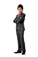 Full length portrait of Asian fashion young business man isolated on white background.