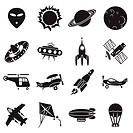 set of vector icons. Air transport, flying machines and space