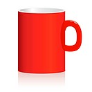 Red mug on white background. Vector illustration. eps8