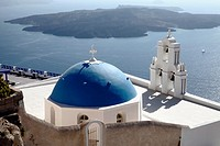 Seaside White Church and Bell Tower, Blue Dome, Santorini, Greece Greek Islands