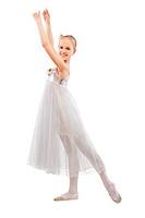 portrait of blonde kid ballet dancer on white