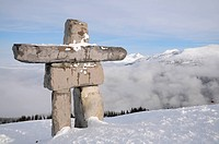 Native inuksuk sculpture at Whistler municipal resort, British Columbia, symbol of 2010 Olympic games