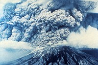 The eruption of Mount St. Helens in Washington State, 18 May 1980, viewed from the east in late morning.