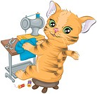 Cat Sewing _ Vector