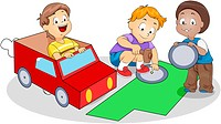Illustration of Kids Making Paper Kart_ eps8