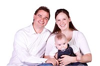 Happy Family Portrait _ Isolated White Background