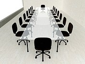 3D rendered Boardroom. Concrete Interior.