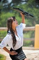 Sexy female college student in the rain