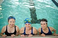 Women at edge of swimming pool