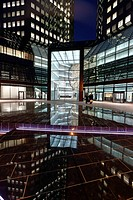 Main entrance and portal of the renovated Deutsche Bank at night, Frankfurt am Main, Hesse, Germany, Europe