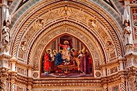 Jesus Mosaic Facade Statues, Duomo Basilica Cathedral Church Florence Italy