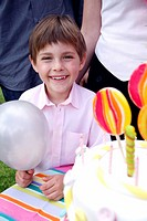 Portrait of boy at outdoor party