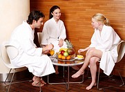 Friends having a refreshment after a spa treatment