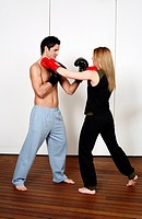 Straight left_hand punch of Active Tae Bo and inside block