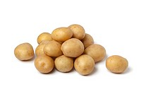 Small new potatoes on white background
