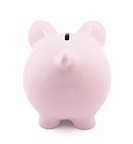 Back view of pink piggy bank with clipping path