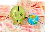 golden pig bank and rmb bill