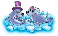 Wedding image with cute seals _ color illustration.