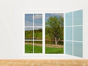 Summer landscape behind a window. 3D image