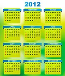 EPS10 _ Transparency and Gradient Mesh Used: 2012 Calendar With Abstract Green Background