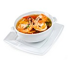 Soup from seafood on a white background