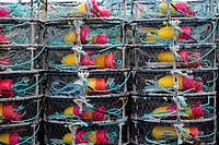 Stack of crab traps and colorful buoys.