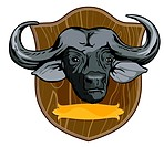 illustration of a African buffalo trophy