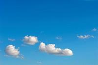 Natur Himmel Woken blau weiß Sommer Schönwetter Cumulus Watte Klima Wetter Hochdruck