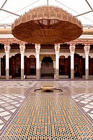 Fountain in the inner courtyard of the Ben Youssef Madrasa, an Islamic college, Medina, historic district, UNESCO World Heritage site, Marrakech, Moro...