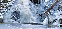 The frozen Falkauer Wasserfall waterfall, Feldberg, Black Forest, Baden_Wuerttemberg, Germany, Europe