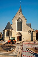 construction works on the square in front of catholic church